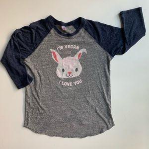 Herbivore Vegan Bunny Baseball Tee M